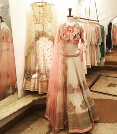 Muted colour tones with a touch of the classic Anushree Reddy florals! Find our summer collection at Ogaan, Haus Khas Village. Indian Lehenga, Red Lehenga, Bridal Lehenga, Lehenga Choli, Sabyasachi, Pakistani Dresses, Indian Dresses, Indian Outfits, Indian Clothes