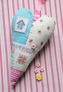 cross stitch heart by helen philipps  Would make lovely pincushion or lavender bag