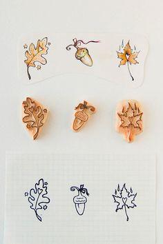 Leaves and Acorn Stamps - maple leaf, oak leaf and acorn stamps for diy, scrapbooking,