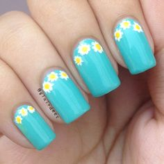 Yellow and white flowers on light blue nails...Instagram photo by  glairdees