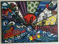 Liverpool mural with a twist painted canvas romero britto style