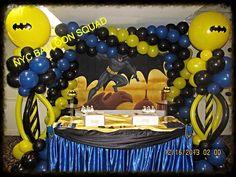 Batman, Dark Knight balloon wall, columns NYC Balloon Squad