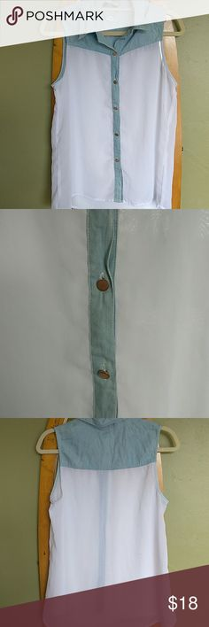 Denim and white top Sheer white top with copper buttons and denium. Ali & Kris Tops Tank Tops