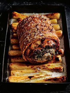 Take your Sunday roast up a notch – think juicy rosemary and sage porchetta with perfect crackling, resting on a bed of almond roasted parsnips. Pork Belly Recipes, Meat Recipes, Cooking Recipes, Game Recipes, Roasted Parsnips, Roasted Meat, Roasted Chicken, Fried Chicken, Sunday Roast Dinner Recipes