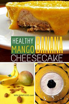 Banana Cheesecake with Mango Sauce | WIN-WINFOOD.com #vegan #lowcalorie #glutenfree