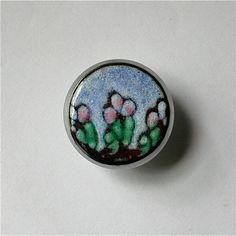 Copper Enamel Cabinet Knob / Sunny Flowers / Enameled Copper Cabinet Pull / Pastel Colors / Drawer Pull / Children's Flowers