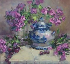 The-Candy-Jar by Barbara Schilling Oil ~ 16 x 17 Garden Painting, Candy Jars, Craft Items, Painting Inspiration, Flower Art, Still Life, Blue And White, White Art, Cool Art