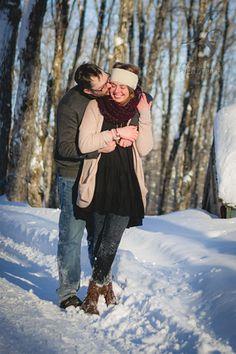 A Sugar shack Engagement photography Winter engagement Laugh