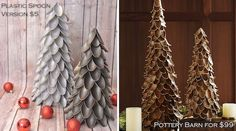 Plastic Spoon Christmas Tree! $5 Version of Pottery Barn's $99 version.
