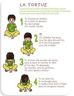 <Le petit yoga de Pomme d'Api> Le tigre : L'alternance contraction/décontraction musculaire élimine le trop-plein d'énergie fréquent chez les jeunes enfants et amuse beaucoup ! A tester ce weekend en famille.
