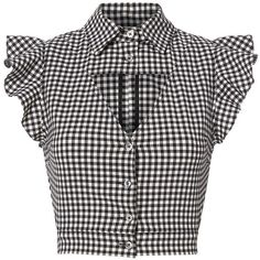 Marissa Webb Women's Denise Gingham Blouse ($298) ❤ liked on Polyvore featuring tops, blouses, white and black blouse, crop blouse, frilly blouse, crop top and gingham blouse