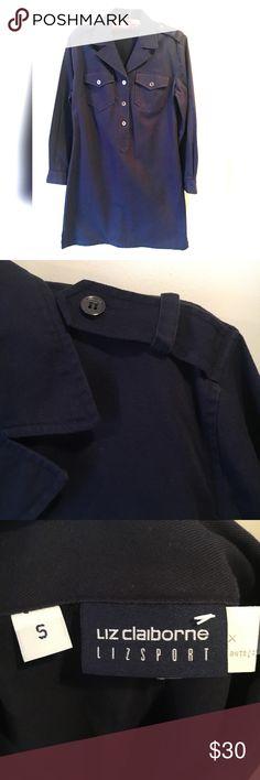 "Liz claiborne Liz Sport Dress Navy blue dress with shoulder buckles. Two front button pockets. Pit to pit 16"". Shoulder to hem 34"". Liz Claiborne Dresses Long Sleeve"