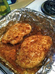 Chicken:   Garlic Brown Sugar Chicken... Three Ingredients: Garlic, Brown Sugar, and Olive Oil. Bake @ 500 degrees for 15-30 minutes