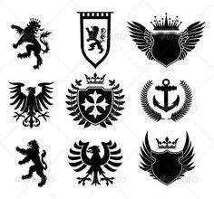 Heraldic designs elements by namistudio Old School Tattoo Designs, Cross Symbol, Lion Design, Crest Logo, Eagle Logo, Desenho Tattoo, Animal Logo, Coat Of Arms, All Art