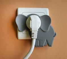 idan noyberg + gal bulka attach elephant in the room onto wall plugs elefante enchufe Elephant Room, Cute Elephant, Elephant Stuff, Geek Gadgets, Cool Gadgets, Image Deco, Wall Plug, 3d Prints, Objet D'art