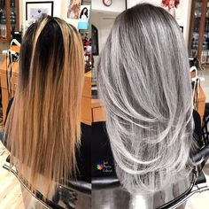 Monday's transformation . Formula: did heavy baby highlights on roots with Schwarzkopf BlondMe and 30 vol mixed with olaplex, same formula… Reverse Ombre Hair, Silver Ombre Hair, Ombre Hair Color, Silver Haired Beauties, Mushroom Hair, Grey Blonde Hair, Gray Hair Highlights, Perfect Hair Color, Balayage Hair