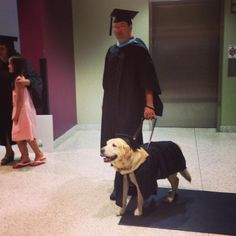 Previous pinner wrote:  Last night, my university gave an honorary master's degree to the service dog who sat through every one of his owner's classes. He dressed appropriately for the ceremony. - Imgur