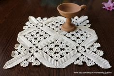 Unique crochet square doily ecru color, hand crocheted in stile of Irish Crochet. Could be used as a pillow cover as well.  Finished