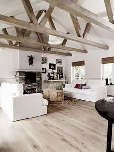 45 Scandinavian Fireplace Ideas Makeover for Your Living Room Wooden Ceiling Design, Wooden Ceilings, Ceiling Beams, White Ceiling, Ceiling Lighting, Wooden Floors Living Room, Wooden Flooring, Painted Wooden Floors, Painted Beams