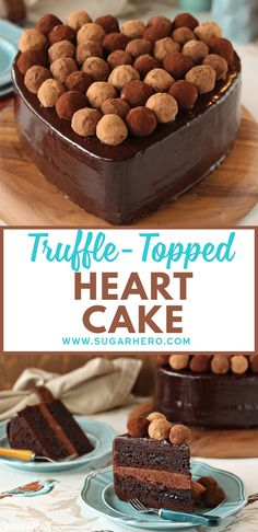 This gorgeous heart-shaped cake is made with rich chocolate cake, a chocolate-blackberry filling, a chocolate glaze, and is topped with homemade truffles! Chocolate Truffles, Chocolate Desserts, Chocolate Glaze, Chocolate Brownies, Cupcakes, Cupcake Cakes, Best Cake Recipes, Dessert Recipes, Just Desserts