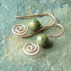Copper Earrings Unakite Copper Coiled Earrings, summer fashion. $24.95, via Etsy.