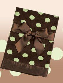Brown Polka Dot Snuggle Blanket with Kiwi Dots by Bearington. Available at OurPamperedHome.com