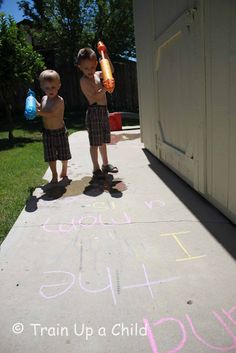 Squirty Alphabet! Spray letters with water! Letter recognition and formation with observation practice and science about evaporation! from http://lifeatthezoo.com/2012/06/abc-for-preschoolers