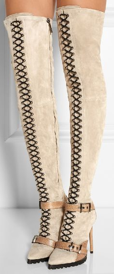 EMILIO PUCCI | Suede and ostrich thigh boots