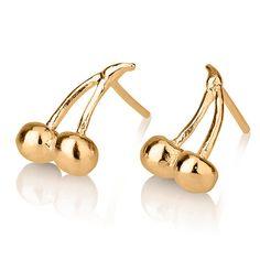 Cherries stud earrings Cherries Gold by LiatWaldmanJewelry on Etsy, $290.00