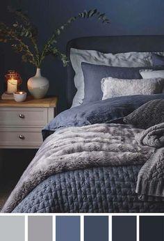 Winter Bedroom Decor, Navy Bedroom Decor, Bedroom Walls, Bedding Master Bedroom, Woman Bedroom, Bedroom Colors, Navy Blue Bedrooms, Blue Gray Bedroom, Warm Bedroom