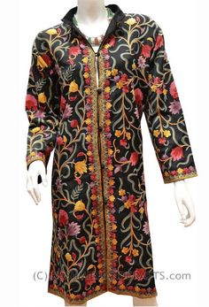 kashmir-cashmere-black-red-silk-Hand-embroidered-Paisley-floral