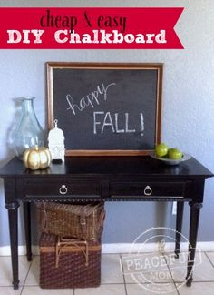 I love budget decor! Check out this hack for a Cheap and Easy DIY Framed Chalkboard for your wall or entryway table!  -- from ThePeacefulMom.com