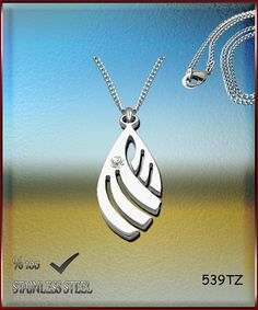 Axcesi 539T Leaf pendant  stainless steel 34x16mm   by Axcesi