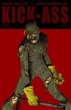 Kick Ass Cover - Colored by on DeviantArt Comic Book Covers, Comic Books, Grafic Novel, Kickass Comic, Alternative Comics, John Romita Jr, Marvel E Dc, Jr Art, Funny Comics
