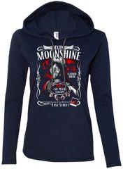 ladies long sleeve hooded t-shirt - dixon moonshine