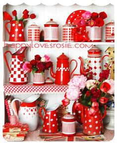 Sweet Country Life ~ Simple Pleasures ~ Country Kitchen ~ red and white   ❤️RADIANT RED