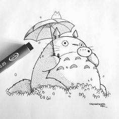 Kawaii Drawings, Art Drawings Sketches, Cute Drawings, Studio Ghibli Art, Studio Ghibli Movies, Totoro Drawing, Ghibli Tattoo, Anime Character Drawing, Arte Sketchbook