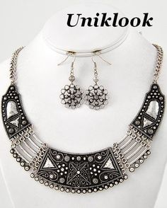 Antique Silver Marcasite Look Choker Chunky Statement Art Jewelry Necklace Set