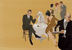 "1961 Fashion illustration by Larry Salk titled ""Summer Cocktail Party with English Butler."""