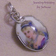 Pendant  LIMOGES Handpainted Sterling Wrapped  by JewelryArtistry, $69.98