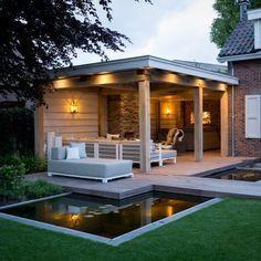 Garden room with veranda - gardenroom Backyard Sheds, Outdoor Sheds, Outdoor Rooms, Outdoor Gardens, Outdoor Living, Pond Design, Patio Design, Garden Design, Key Design