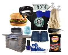 """Poolside Barbeque"" by annietiger3 ❤ liked on Polyvore featuring Eos, Converse, Norma Kamali, Urban Decay, OPI, claire's and FOSSIL"
