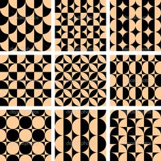 Art Designs Patterns | Seamless geometric patterns in op art design. - Stock Illustration