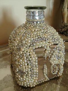 So much fun to create. -Read More – Patron Bottle Crafts, Liquor Bottle Crafts, Wine Bottle Art, Alcohol Bottles, Liquor Bottles, Bottles And Jars, Patron Bottles, Glass Bottles, Bedazzled Bottle