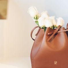 Lovely composition, roses + bag - CH Carolina Herrera