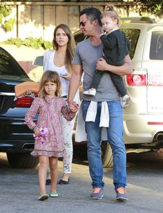 Jessica Alba and her family headed to an afternoon birthday party in LA.