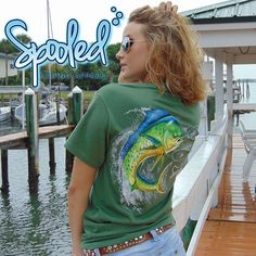 Spooled Mahi Shirt  Short sleeve Gildan 100% cotton ultra 5.3 oz double-needle sleeve and bottom hem  Spooled Fishing Apparel is brought to you by @buckedupapparelllc  #spooled #fishaholicz #fishinglife #fishingislife #swag #like #follow #fishie #fish #fishing #beach #sea #sun #ocean #southern #country #angler #offshore #boat #saltwater #fishstocknsb #gander #basspro #shark #model #girl  Available while supplies last.