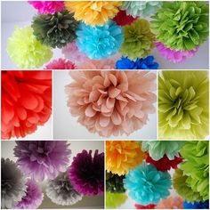 Mix in some bright colored poms with the string of lights #bridalshower #polkadotdesign