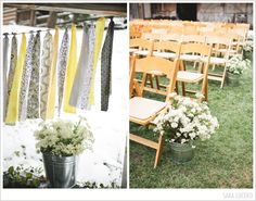 Rustic country wedding ceremony decor. #wedding #decor