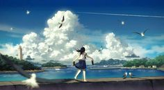 Image discovered by Vân Shiro. Find images and videos about cool, anime and sky on We Heart It - the app to get lost in what you love. Pixiv Fantasia, Image Manga, Animation Background, Anime Artwork, Anime Scenery, Illustrations, Landscape Art, Background Images, Wallpaper Backgrounds